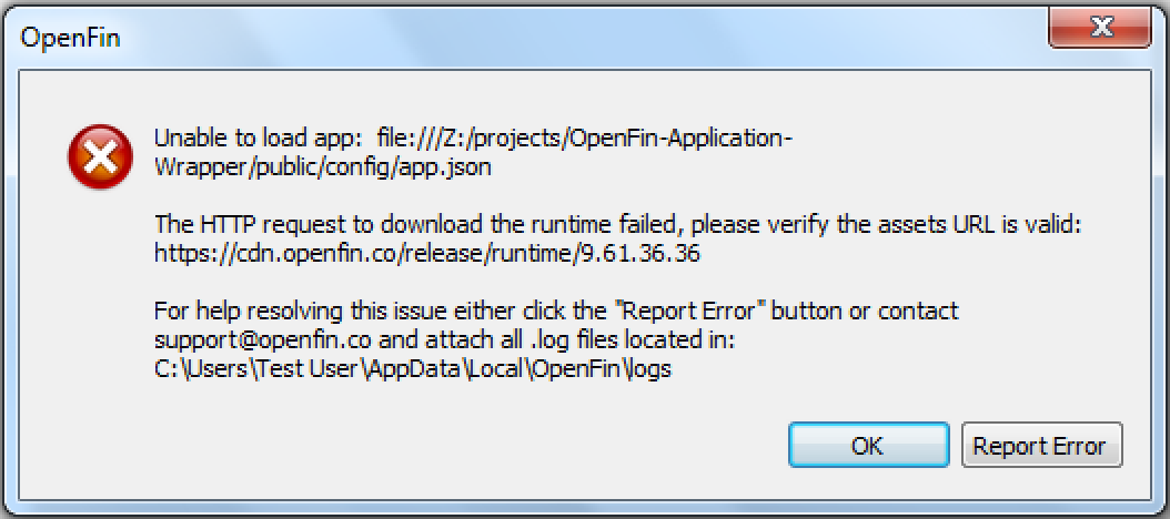 Error: Unable to load app: - The HTTP request to download the